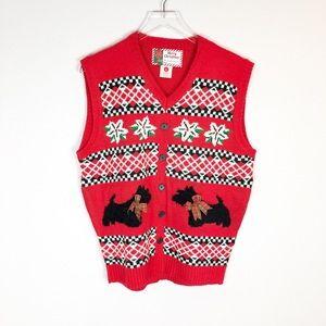 Vintage Christmas Scottie Dog Sweater Vest Sz L